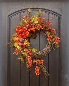 Fall Wreath Thanksgiving Wreath Halloween Orange Berry Branches Twig Grapevine Door Wreath Decor Floral Door Decoration Indoor Outdoor Decor