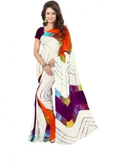 White and Multi-Color Heavy Cotton Silk Hand-Printed Saree