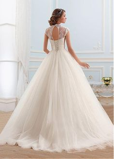 Buy discount Glamorous Tulle High Collar Neckline Ball Gown Wedding Dress at Laurenbridal.com