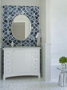 """Blue and white glass mosaic bath wall is Polly"""", part of the Beau Monde collection from Ann Sacks.   Lizette Marie Interior Design."""