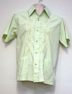 0bd1241d Medium - Vintage Green Men's Guayabera Cuban, Mexican Wedding Shirt