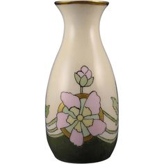 Zeh, Scherzer & Co. (ZS&Co.) Bavaria Arts & Crafts Flower Motif Vase (Signed S. Porter/c.1880-1930)