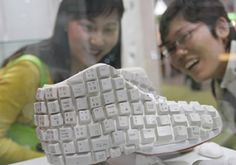 A fun pair of sports shoes made of computer keyboards at the 14th China International Clothing & Accessories Fair in Beijing. These shoes won the top prize in the sports category at the 6th Hong Kong Footwear Design Contest.
