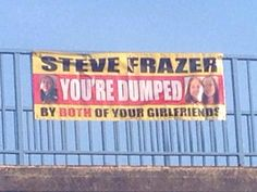 Women dumped their cheat boyfriend with hilarious motorway banner