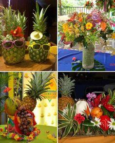 Resultado de imagen para fiesta hawaiana centros de mesa