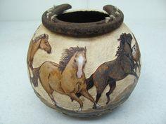 PASSAGE Gourd pot with running horses design by GourdGateStudio, $195.00