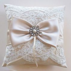 Wedding Ring Pillow and Matching Basket in Champagne Satin with Beaded Ivory Alencon Lace, Satin Bow/Rhinestone Center - The MELINDA Pillow Ring Bearer Pillows, Ring Pillows, Gold Pillows, Ring Pillow Wedding, Wedding Pillows, Wedding Symbols, Pillow Crafts, Wedding Arch Flowers, Indian Wedding Photography