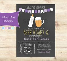 This fun Baby is Brewing Baby Q invitation is customized with your own text at time of order by me. Design features a light purple and dark purple banner at the top, with a baby bottle and beer glass. The background is a chalkboard and it features a mix of script and chalk fonts. The invitation will be available to you as a printable file that you can print on your own using any online printer, office store, or even just print at home! The process is simple, quick and easy!  Also available…