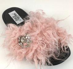 Faux Fur Slides, Bridal Sandals, Crystal Brooch, Slide Sandals, Vintage Inspired, Feather, Blush, Slippers, Gifts