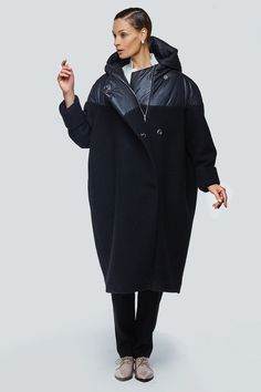 Купить Пальто летучая мышь комбинированная шерсть от Lesel (Лесель)