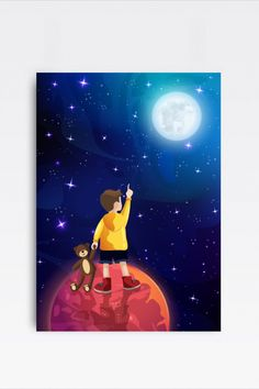 This amazingly cute Illustration of a Boy holding a Teddy in Space fits kids room or any other room :) Looks best when framed. All Illustrations were made by us, LadiesMinimal from scratch, without using any premade elements. Reaching For The Stars, Exercise For Kids, Cute Illustration, Full Moon, Art For Kids, Planets, Kids Room, Sky, Illustrations
