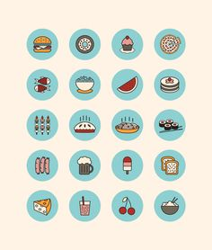 Food Icons by Sanja Veljanoska, via Behance Flat Design Icons, Web Design, Icon Design, Logo Design, Graphic Design Inspiration, Creative Inspiration, Doodle Icon, Food Icons, Line Icon