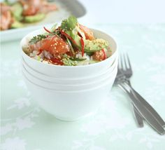 Japanese salmon & avocado rice  This dish contains the goodness of sushi but saves you the painstaking rolling and shaping