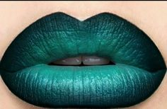 Sea blue shade lipstick makeup goth. It might be a pretty zombie cosmetics color.