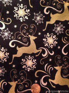 Reindeer Snowflakes Gold on Black Cotton Fabric by The Yard Christmas | eBay