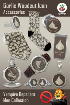 Gifts for your vampire hunter friends. Garlic icons and many silver items in this collection. Vampire Hunter, Men's Collection, Hunters, My Images, Garlic, Icons, Personalized Items, Friends, Silver