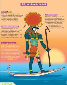 Fiche exposés : Rê, le dieu du Soleil                                                                                                                                                                                 Plus French Class, French Lessons, Ancient Egypt, Ancient History, Egypt Map, Roman Gods, French Expressions, Egyptian Mythology, Religion