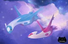 This hand-painted digital print featuring Pokemons Latios and Latias by the artists of Cat Crossing is a perfect decoration for your room. It is