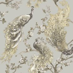 Holden Decor Sana, shown here in silver. This fabulous vintage peacock design features elegant grey and ochre peacocks enhanced with subtle light reflecting gold highlights on contrasting silver metallic background. Peacock Wallpaper, Tier Wallpaper, Navy Wallpaper, Wallpaper Online, Wallpaper Samples, Vinyl Wallpaper, Gold And Silver Wallpaper, Chinoiserie Wallpaper, Kunst