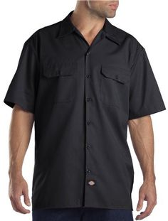 Pin Dickies Men's Short Sleeve Work Shirt Black Extra Large to one of your boards if you like it !