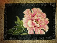 """Romantic Rose"" on black velvet with silver metallic thread, fabric postcard."