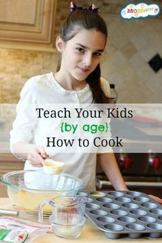 Have you been wondering at what age your kids can start helping out in the kitchen? Here is a list of tasks to help teach your kid how to cook by age.
