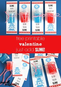 Slime Valentines with FREE printable!  My little guys would love these!