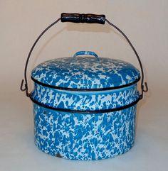 RARE Blue & White Swirl Graniteware Oval 3pc. Lunch Pail