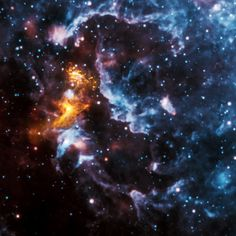 In this image of PSR B1509-58 (about 170,000 light-years from Earth), X-rays from NASA's Chandra in gold are seen along with infrared data from NASA's Wide-field Infrared Survey Explorer (WISE).