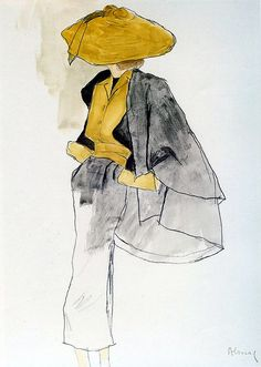 A sketch by Bernard Blossac of one of Dior's 'New Look' designs, 1950 | Flickr - Photo Sharing! Vintage Fashion Sketches, Fashion Illustration Sketches, Fashion Design Sketches, Fashion Drawings, Fashion Vintage, Sketch Fashion, Vintage Dior, Fashion Designers, Fashion Sketchbook