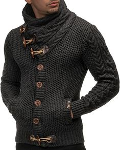 Leif Nelson Men's Knitted Turtleneck Cardigan - X-Large - Anthracite