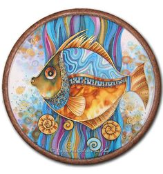 "Batik ""Rybets"" – Batik, Naturseide, Handarbeit, … – Teratis Art – Join the world of pin China Painting, Ceramic Painting, Fabric Painting, Wal Art, Fish Design, Glazes For Pottery, Fish Art, Painting Techniques, Rock Art"