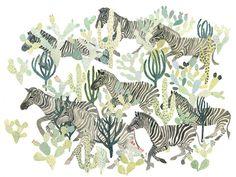 Zebra Herd and Cactus  Original painting van HomeofDODO op Etsy