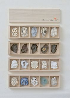 Chopstick Rests.Coral,shell,stone and beach glass.Paulownia wood box.September 2014.