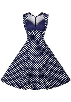 Blue Polka Dot Print V-neck Sleevless Vintage Midi Dress - Midi Dresses - Dresses