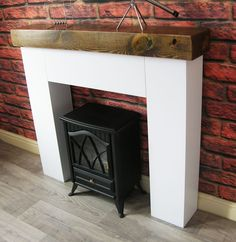 They are made using MDF and Pine railway sleeper. Fireplace Mantle, Fireplace Surrounds, Fireplace Design, Wooden Fireplace, Fireplace Ideas, Modern Mantle, Living Room Designs, Living Room Decor, Dining Room