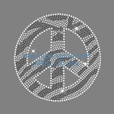 Zebra Peace Sign Rhinestone Motif For Clothes Decoration