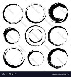 Vector image of Set of grunge circle brush strokes Set 4 Vector Image, includes paint, black, white, pattern & design. Illustrator (.ai), EPS, PDF and JPG image formats.