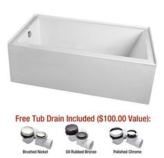 """View the Mirabelle MIREDS6030L Edenton 60"""" X 30"""" Three-Wall Alcove Soaking Tub with Left Hand Drain at FaucetDirect.com."""