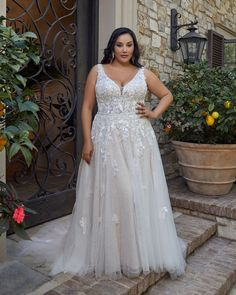Style 2445 Lucy | Lace A-Line Wedding Dress by Casablanca Bridal | Casablanca Bridal Off White Wedding Dresses, Gorgeous Wedding Dress, Bridal Wedding Dresses, Wedding Dress Styles, Casablanca Bridal Gowns, A Line Bridal Gowns, Curvy Bride, White Bridal, Boho Bride