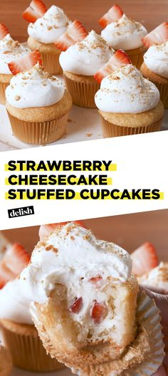Strawberry Cheesecake STUFFED Cupcakes are your two favorite desserts in one. Get the recipe at Deli Strawberry Cheesecake Cupcakes, Cheesecake Recipes, Cupcake Recipes, Cupcake Cakes, Dessert Recipes, Coconut Cupcakes, Pumpkin Cheesecake, Mini Cupcakes, Cheesecake Stuffed Strawberries