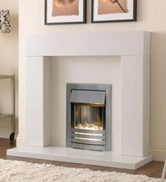 Adam Malmo Fireplace Suite in Pure White with Helios Electric Fire ...