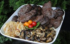 Mennonite Girls Can Cook: Grilled Tenderloin Steak with Mushrooms and Onions Grilled Tenderloin, Mushroom And Onions, Pot Roast, Grilling, Stuffed Mushrooms, Sons, Meals, Vegetables, Cooking