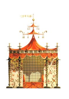 Chinese Tent for Trianon Versailles. Conceived by the workshop of Jean-Baptiste Pillement in 1780, this tent, never built, was possibly designed for Marie-Antoinette's gardens at Trianon.    ( Chinoiseries by Bernd H. Dams and Andrew Zega, Rizzoli New York, 2008)