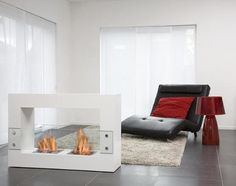 Qube Large Freestanding Ethanol Fireplace | Contemporary Elements