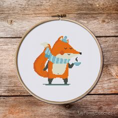 Fox Cross Stitch pattern, Little Fox, tea time stitch pattern, time to coffe stitch pattern, baby cross stitch pattern, Cross Stitch Pattern par MyFunnyStitches1 sur Etsy https://www.etsy.com/fr/listing/468886539/fox-cross-stitch-pattern-little-fox-tea