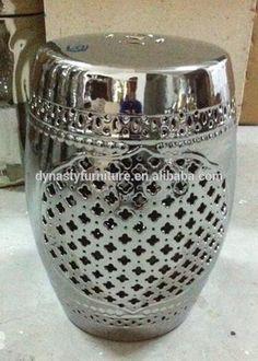 Chinese silvery hollow ceramic garden stool
