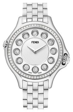 Fendi 'Crazy Carats' Diamond Bezel Rotating Bracelet Watch, 33mm