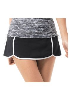 A sporty knit swim skort with contrast color details, contrast boy short and back pocket. A flattering look that helps hide hips and thighs for the beach or poolside. Boy Shorts, Gym Shorts Womens, Women's Swimwear, Contrast Color, Skort, Tankini, Thighs, Swimming, Pocket