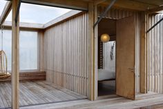 hallway-area L-shaped beach house architecture design